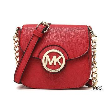 DCCK Michael Kors MK Leather Chain Crossbody Shoulder Bag Satchel RED