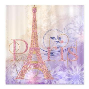 Pink Glitter Eiffel Tower Paris Shower Curtain> Shower Curtains> CLICK HERE-4 LOWER PRICES-GetYerGoat.com