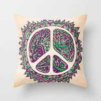 Peace Vainilla Throw Pillow by Maximilian San
