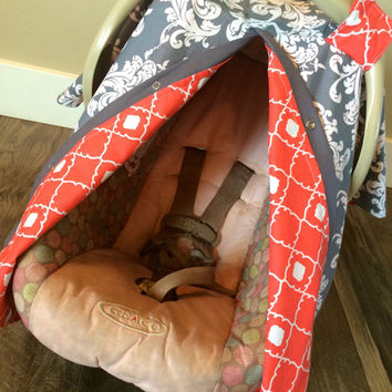Carseat Canopy Grey and Coral STUNNING