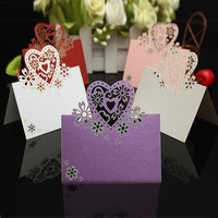 50pcs Heart Cut Table Laser Place Cards Name Number Wedding Party Decoration = 1932678212
