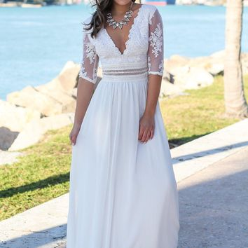 Ivory V-Neck Maxi Dress with Mesh Embroidered Sleeves