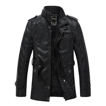 Thick Warm Medium Long Men Leather Coats Jackets stand Collar Hombre
