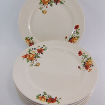 Homer Laughlin Crooksville China Poppy & Rose Olivia Ivora Luncheon Plates, Set of 7