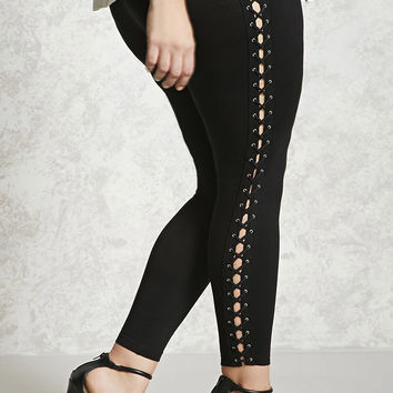 Plus Size Lace-Up Side Leggings