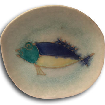 Anthropologie Style Mid Century Modern Handmade Ceramic Fish Decorative Dish