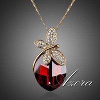 AZORA Dragonfly Vampire 18K Real Gold Plated Stellux Austrian Crystal Ellipse Pendant Necklace TN0041