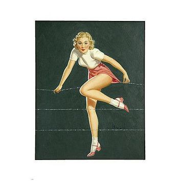 BLONDE Pin-Up GIRL Art Painting POSTER 24x36 SKIRT STUCK on barbed-wire sexy