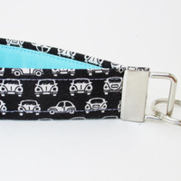 Handmade Key Chain, Fabric Key Fob, Cars Key Strap - Black, Aqua and White