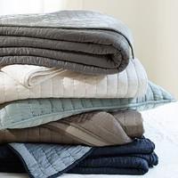 Silk Channel Two-Toned Quilt & Sham