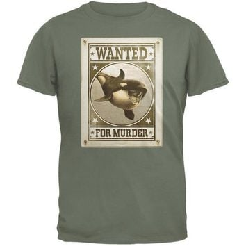 LMFCY8 Orca Killer Whale Wanted For Murder Military Green Adult T-Shirt