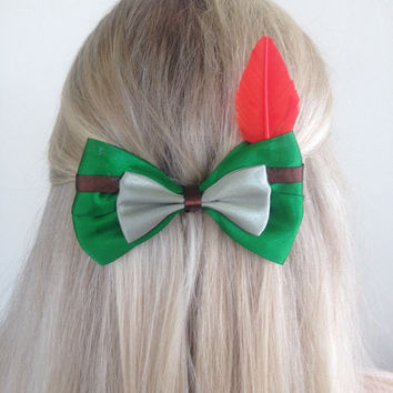 Peter Pan Green Bow With Red Feather, Never Grow Up by Design Bowtique