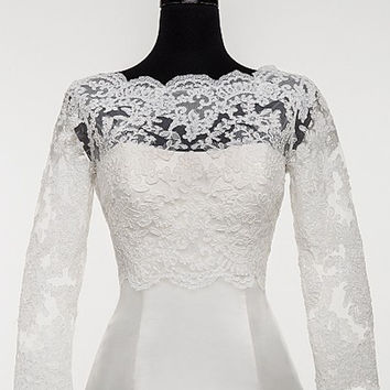 Full Sleeves Scalloped Boat Neck Lace Applique Bridal Jacket/Wraps Wedding Bolero for Women Free Shipping
