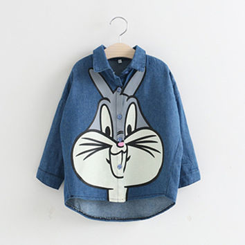 New autumn full sleeve jeans girls blouse shirt for kids children clothing rabbit printed denim shirt girls tops outfit