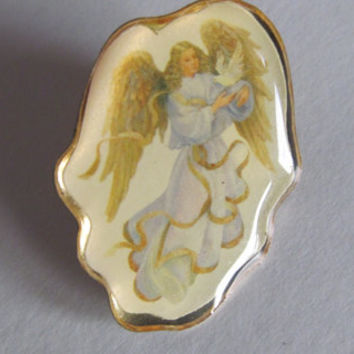 Angel with Dove Guardian Angel Jewelry Angel Brooch Lapel Pin Back Pin Angel Wings