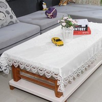 TC009 High Quality White Lace Edge Covers for Table Europe Style Wedding Tablecloth Embroidered  Home Party Table Clothes