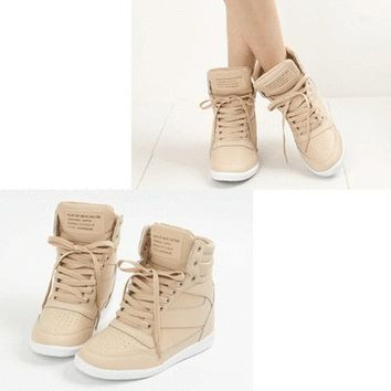 Epic7snob Womens Shoes High Top Wedges Hidden Heel Lace Up Fashion Sneakers