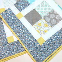 PASTEL BABY QUILT/Patchwork Baby Quilt/Yellow/Grey/Teal