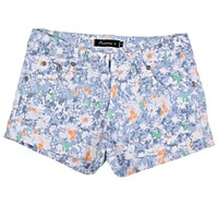 ZLYC Women's Vintage Floral Print Low Waist Fitted Casual Shorts