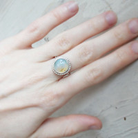 Dendritic white opal sterling silver stacking ring, Merlinite agate, stackable minimalist forged artisan jewelry size 7