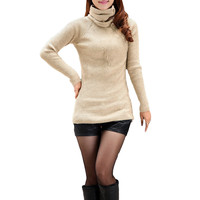 Khaki Button Turtleneck  Long Sleeve Knitted Pullover Sweater