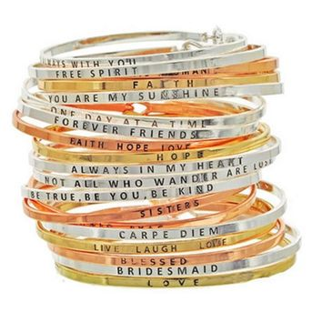 3mm Inspirational Stamped Bangle Bracelets