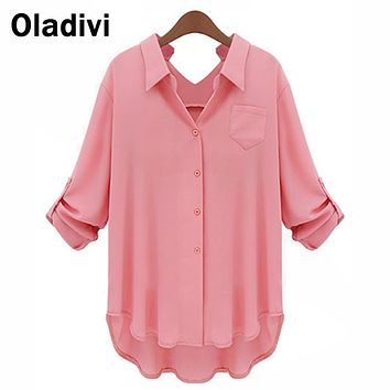XXXXXL Plus Size Women Chiffon Blouse Shirt Long Sleeve Turn Down Collar Solid Color Tops Female Kimono Big Size Clothing XL 5XL