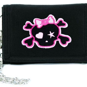 ac spbest Pink Skull with Bow Tri-fold Wallet w/ Chain Rockabilly Clothing