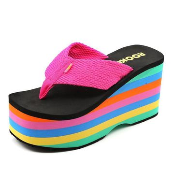 Women 10 Cm High Heel Contrast Rainbow Striped Beach Slipper 2017 New Arrivals