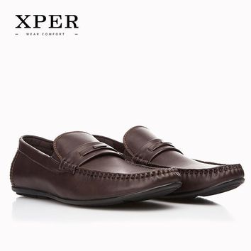 Men Shoes Hand Made Breathable Soft Men Flats Shoes Slip-on Buckle Men Loafers Brown B