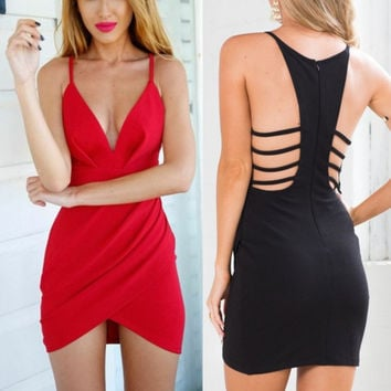 2016 Women's Deep V Neck Sheath Dresses Sleeveless Bodycon Mini Dress Sexy Y8664