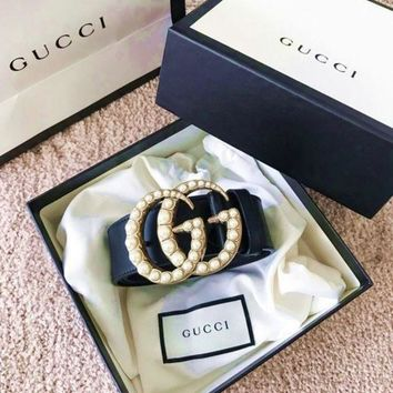 GUCCI Pearl Woman Fashion Smooth Buckle Belt Leather Belt