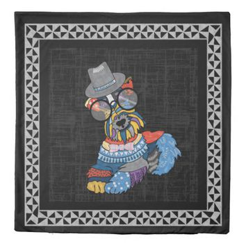 Schnauzer White Black Dog Folkart Tribal Print Duvet Cover