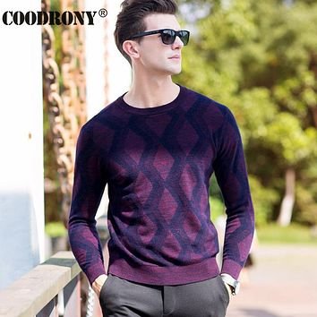 High Quality 100% Real Merino Wool Sweater Men Winter Thick Warm Heavy Knitted Cashmere Sweaters Argyle O-Neck Pullover Men 6321