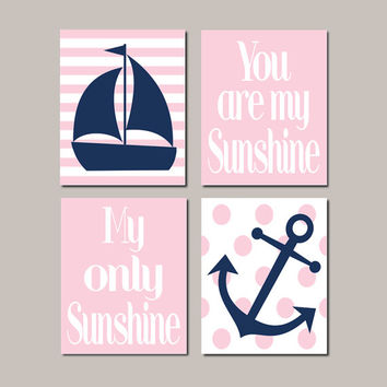 Pink Nautical Nursery Art Pink Navy Nursery Decor Anchor Sailboat You Are My Sunshine Baby Girl Nursery Pictures Set of 4 Prints Or Canvas