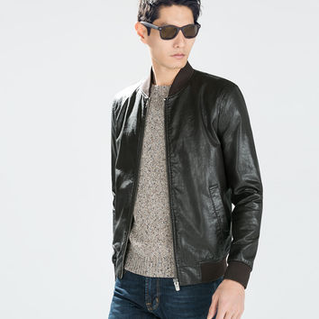 FAUX LEATHER BOMBER JACKET from ZARA | OUTERWEAR