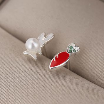 Shunyun New Arrival Asymmetry Earrings 925 Sterling Silver Carrot & White Pearl Bunny Rabbit Stud Ear Jewelry for Child Girls