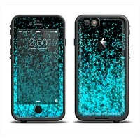 The Black and Turquoise Unfocused Sparkle Print Skin Set for the Apple iPhone 6 LifeProof Fre Case