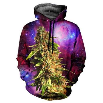 Fashion newest lovers winter galaxy space hooded sweatshirt 3d printing plantlife Weed Coral biology crop hoodie pullovers
