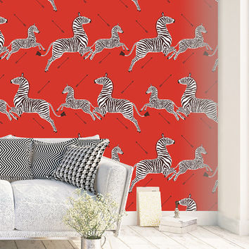 Red Zebra Wallpaper - Non Woven Wallpaper or Self Adhesive Vinyl Wallpaper - Zebra Print Inspired by a room in the Royal Tenenbaums movie