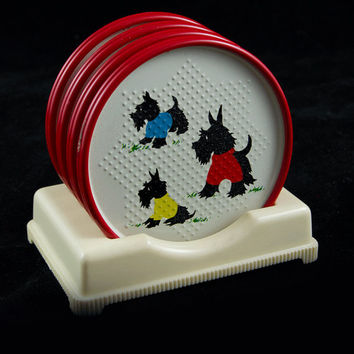 Retro McKee Scottish Terrier Scottie Dog Metal Coasters and Holder in Yellow, Blue, Red & White - Near Mint