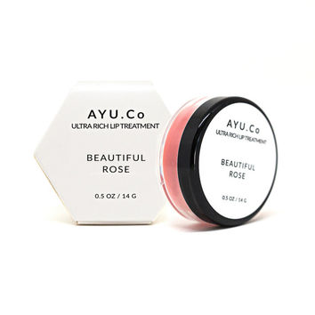 Beautiful Rose Lip Treatment - Organic Cocoa Butter - Rose Extract -  Lip Balm - Lip Gloss - Lip Butter - Moisturizer - Mom Gift - AYU.Co