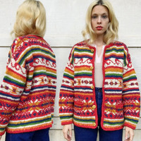 Vintage 70s Handmade Red + Rainbow Multi Design Striped Wool Knit Button Up Hippie Cardigan Sweater M