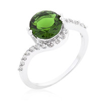 Green Swirlingengagement Ring, size : 09