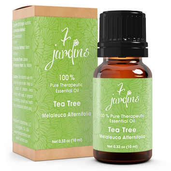 "7 Jardins Skin Ailment Therapeutic Essential Oil ★100% Pure Tea Tree ""Melaleuca Alternifolia"" (10 ml) ★Becteria & Mold Killer ★Boosts Immunity & Clear your Mind ★Enriched with Plant Based Natural Ingredients"