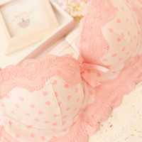 Free shipping! sweet lovely lace sexy underwear bra set thickening 110321