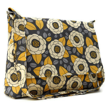 Messenger Bag Cross Body Bag - Joel Dewberry Aviary 2 Bloom in Granite - Larger with 8 Pockets