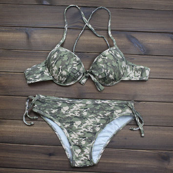 Women's Camo Printed Push up Halter swimwear Swimsuits Two Pieces