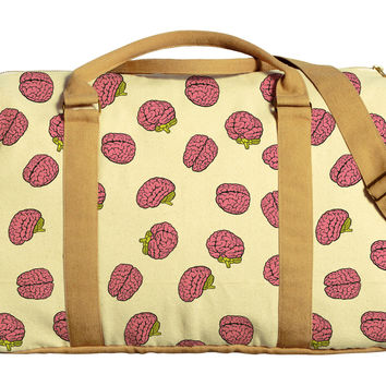 Brain Pattern Printed Oversized Canvas Duffle Luggage Travel Bag WAS_42