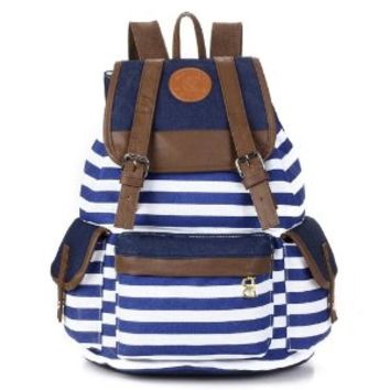 Crazycity fashionable popular Unisex New Design Casual Bag Canvas Backpack School Bag Super Cute Stripe for School Laptop Bag Book Campus Bag Backpack Fashion Cute Shoulder Bag Fashion Travel Travelling Handbag Rucksack Bag stylish canvas backpack (Blue)